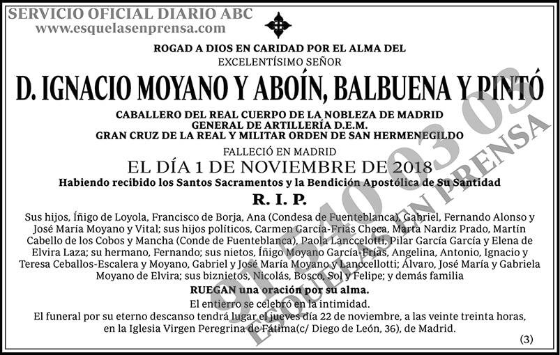 Ignacio Moyano y Aboín, Balbuena y Pintó